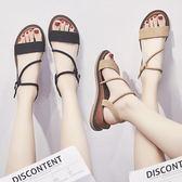 涼鞋 女夏平底百搭韓版學生休閒簡約坡跟網紅女鞋 綠光森林