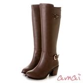 amai高低靴口造型尖頭粗跟長靴 咖