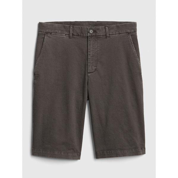 Gap男裝 多選色彈力復古斜紋短褲 440988-青黑色