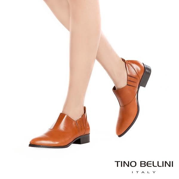 Tino Bellini 義大利進口摩登雅痞女郎低跟皮鞋 _ 棕 VI1006D 歐洲進口款
