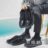 馬丁鞋  休閑皮鞋男韓版潮冬季加絨保暖馬丁靴學生工裝大頭英倫黑亮皮男鞋
