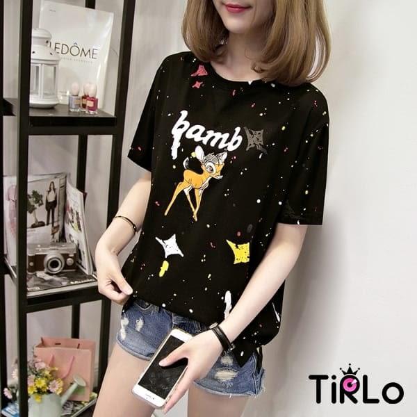 T袖 -Tirlo-可愛斑比小鹿潑墨短T-四色(現+追加預計5-7工作天出貨)