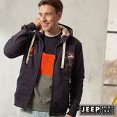 【JEEP】休閒美式風格保暖連帽外套 (深藍)