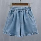 牛仔短褲 胖MM大碼女裝新款牛仔女短褲2021年夏裝寬鬆顯瘦休閒闊腿薄款熱褲 韓國時尚 618