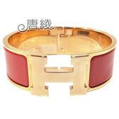 【Hermes 愛馬仕】Clic H LOGO 琺瑯寬版PM手環(珊瑚粉X玫瑰金 H300001FO95)