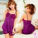 睡衣 性感睡衣 紫色二件式俏皮柔緞性感睡...