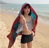 絲巾女夏季海邊旅游拍照防曬披肩圍巾兩用沙灘巾超大百搭海灘紗巾