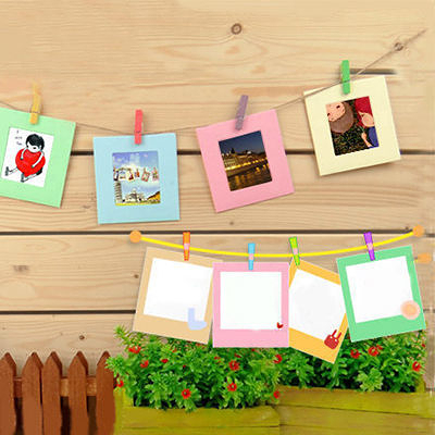 Qmishop Cute版小方形懸掛式 相框彩色木夾麻繩組 一套10入 【QJ533】