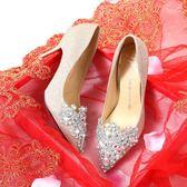 公主婚鞋女新款水鑚銀色高跟鞋細跟新娘鞋宴會婚禮婚紗伴娘鞋    初語生活