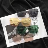 新款韓版復古無邊框墨鏡女ins網紅素顏大框顯太陽鏡綠色ulzzang 小明同學