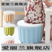 座椅浴室玄關板凳穿鞋凳桶儲物箱進門塑料收納凳子坐墩鞋柜圓形礅   蘑菇街小屋   ATF