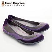 Hush Puppies 真皮流行色彩透氣舒適平底女鞋-紫(另有藍、褐咖)