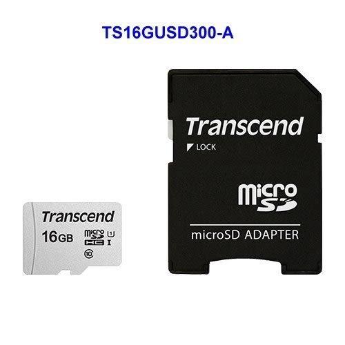 創見 記憶卡 【TS16GUSD300S-A】 16GB Micro-SD 讀95MB C10 U1 新風尚潮流