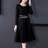 大碼洋裝 女裝2021秋季新款氣質修身法式小黑裙打底中長款A字連身裙子 8號店