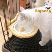 貓籠木質竹制掛式貓碗固定式陶瓷碗狗碗水碗【極簡生活】