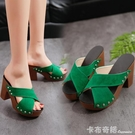 歐美夏季新款防水台粗跟高跟女涼拖鞋性感一字拖魚嘴厚底女拖 卡布奇诺