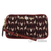 茱麗葉精品【全新現貨】MIU MIU 5DF008 刺繡LOGO水鑽飾造型手拿包/中夾.紅