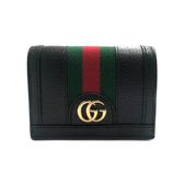 【台中米蘭站】全新品 GUCCI 牛皮金雙G綠紅綠織帶暗釦短夾 (523155-黑)