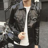 秋季男裝青年時尚潮流皮夾克修身型韓版機車皮衣男外套上衣開衫
