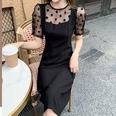 洋裝 假兩件點點拼接連身裙-媚儷香檳-【D1546】