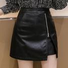 2020秋冬季高腰A字裙不規則開叉氣質拉鏈半身裙女短裙pu皮裙