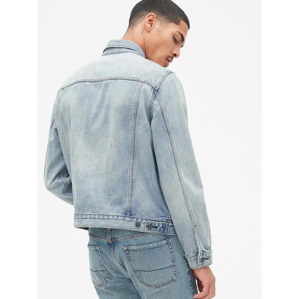 Gap男裝 淺色水洗長袖牛仔夾克 440082-淺色水洗