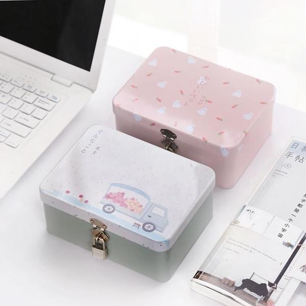 三年二班C創意馬口鐵盒子帶鎖收納盒 桌面收納整理儲物盒 密碼盒