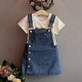 2018春夏新款韓版時尚洋氣女童背帶裙連衣裙可愛牛仔裙童裝4003  無糖工作室