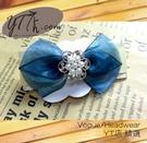 【YT店髮飾】藍綠白珠飾緞帶蝴蝶結髮夾/髮飾/頭飾/彈簧夾(G018)