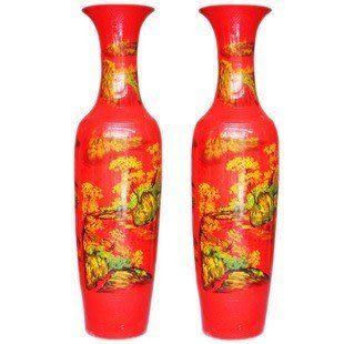 陶瓷落地花瓶中國紅