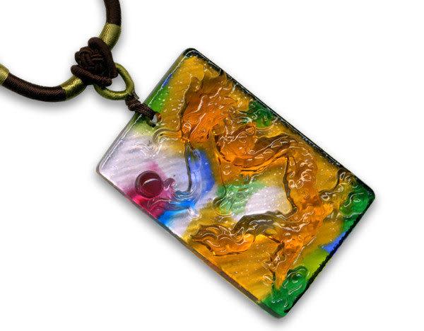 鹿港窯~居家開運水晶琉璃項鍊~龍戲珠 附精美包裝◆免運費送到家