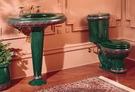 【麗室衛浴】美國 KOHLER 原裝 手工彩繪臉盆加長柱  K-14236-CL/綠彩(門市樣品出清價)