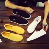 【YPRA】女生小白鞋 韓版素色情侶男女帆布鞋 百搭透氣一腳蹬懶人鞋