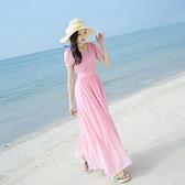 洋裝 2020夏季新款波西米亞雪紡連身裙修身顯瘦長裙