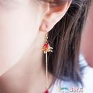 耳環 古風蓮花耳環漢服耳飾超仙中國風復古長款超仙氣質耳墜無耳洞耳夾 8號店