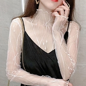 透視性感內搭網紗打底衫女冬薄款春秋修身透明紗高領紗衣蕾絲上衣