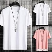 男士短袖t恤2021新款白色上衣服夏季潮流純棉純白半袖丅大碼體恤 創意新品