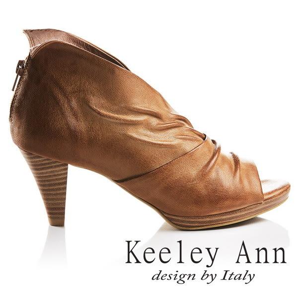 ★2017春夏★Keeley Ann獨立性格~時髦質感抓皺V字型全真皮魚口高跟鞋(棕色)