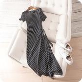 洋裝-條紋蕾絲拼接下擺修身顯瘦連身裙73sz2[時尚巴黎]