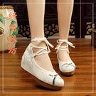 漢服鞋子女繫帶純白高跟內增高古風鞋子女繡花鞋 格蘭小舖