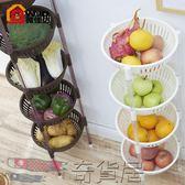 塑料蔬菜水果廚房置物架收納筐落地多層儲物用品用具3放菜籃架子4【奇貨居】