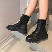 馬丁靴女ins秋季新款鞋子網紅百搭英倫風增高黑色短靴瘦瘦潮 伊衫風尚