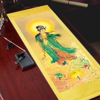 阿彌陀佛西方三圣卷軸掛畫