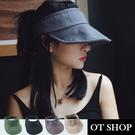 [現貨]帽子 春夏棉質透氣中空帽 遮陽帽 帽檐軟鐵絲 方便收納 穿搭配件 黑 灰 米 綠 C2088 OT SHOP