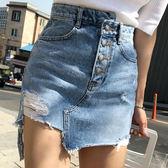 2019夏季新款韓國chic潮流百搭顯瘦不規則排扣A字牛仔半身短裙  雲朵走走