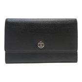 CHANEL 香奈兒 黑色牛皮銀色圓形LOGO卡夾零錢包Coco Button Flap Wallet【BRAND OFF】