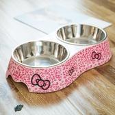 寵物食盆狗碗貓咪餐具不銹鋼雙碗喂食器【步行者戶外生活館】