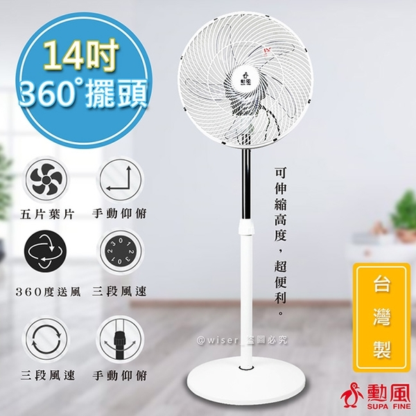 【勳風】360度擺頭14吋超廣角電風扇立扇循環扇(HF-B1226)飛梭旋鈕/旋風風罩
