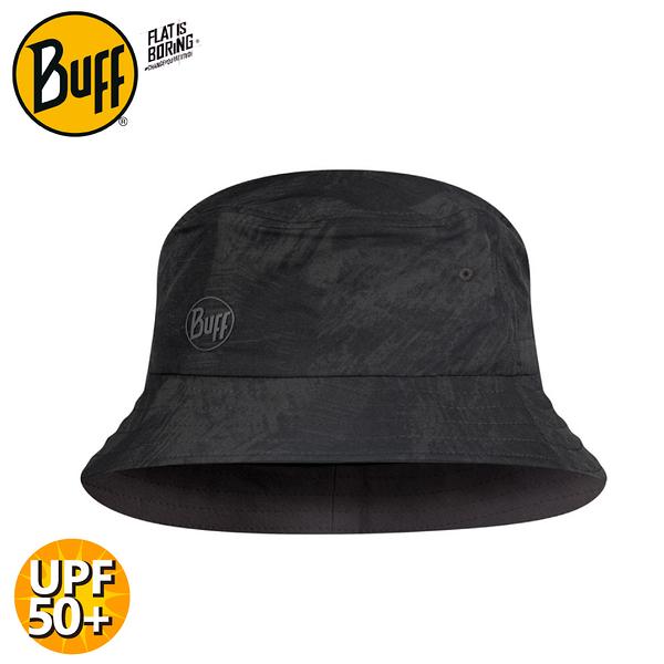 【BUFF 西班牙 可收納漁夫帽《黑色墨花》】122590/遮陽帽/防曬帽/休閒帽