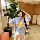 正韓 米奇 刺繡 牛仔襯衫 長袖 上衣 襯衫 外套 T 寬鬆 卡通 可愛 牛仔 韓國 NXS